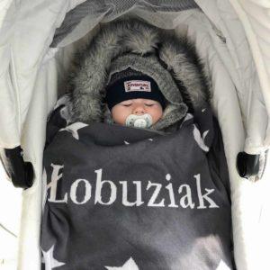 kocyk bawełniany dwustronny z napisem 4 - poscielarnia.pl