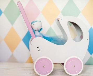 wózek dla lalek rozowy