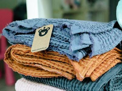koc lniany jeansowy